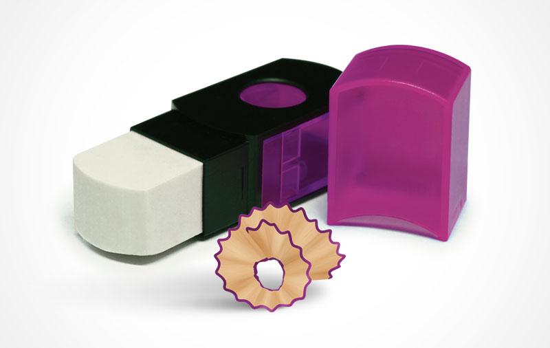 Apontador + Borracha 2 em 1 Compactor